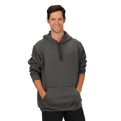 The Josh Pullover Hoodie is made with soft and warm Hemp Fleece. Soon to be your favorite sweatshirt it has a drawstring on the hood, kangaroo pockets and long sleeves with ribbed cuffs and hem. Fabrication: 55% Hemp 45% Organic Cotton -Fleece Eco-Essentials $90.00 colour charcoal grey