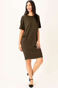 Wrap yourself in the cozy soft Mika Dress. Comfortable, relaxed fit, this drop shoulder French Terry piece will be your new favorite new dress! Features seam lines, seam pockets and a flattering and trendy cocoon shape.  Fabrication: 95% Viscose from bamboo, 5% Spandex French Terry  LNBF color Olive Green $115.00