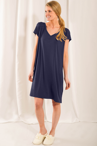 The Rosa Sleep Dress features lovely and stylish details with unbeatable bamboo softness. Features a beautiful smocking details at the front, v-neckline and an inverted box pleat detail at the back. Fabrication: 95% Viscose from bamboo, 5% Spandex  LNBF colour twilight $60.00