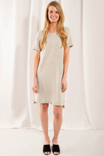 The new Camille t-shirt dress this season is made with a micro french terry; using silky-soft viscose from bamboo. This staple piece features pockets, a crew neckline, and side slits for movement and comfort.  Fabrication: 95% Viscose from bamboo, 5% Spandex Micro French Terry  LNBF Colour Grey Melange
