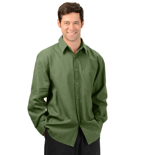 The Ryan dress shirt is the perfect weight, long sleeve dress shirt for business with or without a tie. Very comfortable as a casual outfit, with tone on tone buttons and a single front pocket. A must have for every wardrobe! Fabrication: 55% Hemp 45% Organic Cotton Eco-Essentials Color Olive Green $80.00