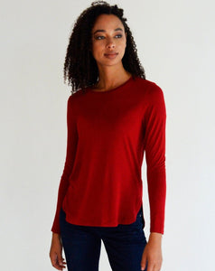 Dressing just got easier with our Inny Crew Neck High Low Hem! Simple but detailed, it is perfect for lounging at home or for everyday wear!  Fabrication: 95% Viscose from Bamboo 5% Spandex LNBF Colour Ruby Red $54.99