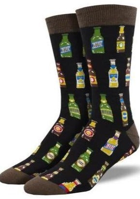 Black with Beer Bottles. Soft, Breathable, Moisture Wicking, Antibacterial, Hypoallergenic, Amazing Socks! One Size Fits Most (Men's 7-13) Fabrication: 66% Rayon from Bamboo, 32% Nylon, 2% Spandex SockSmith $18.00