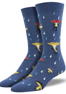 Blue with Mushroom Characters. Soft, Breathable, Moisture Wicking, Antibacterial, Hypoallergenic, Amazing Socks! One Size Fits Most (Men's 7-13) Fabrication: 66% Rayon from Bamboo, 32% Nylon, 2% Spandex SockSmith $18.00