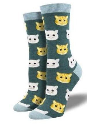 Heather Green with Cat Faces. Soft, Breathable, Moisture Wicking, Antibacterial, Hypoallergenic, Amazing Socks! One Size Fits Most (Women's 5-11) Fabrication: 66% Rayon from Bamboo, 32% Nylon, 2% Spandex SockSmith $18.00