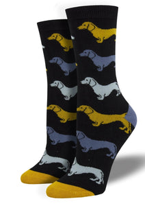 Brown with Dachshunds. Soft, Breathable, Moisture Wicking, Antibacterial, Hypoallergenic, Amazing Socks! One Size Fits Most (Men's 7-13) Fabrication: 66% Rayon from Bamboo, 32% Nylon, 2% Spandex SockSmith $18.00