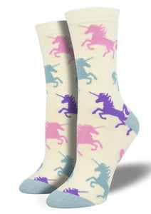 Whitw with Unicorns. Soft, Breathable, Moisture Wicking, Antibacterial, Hypoallergenic, Amazing Socks! One Size Fits Most (Women's 5-11) Fabrication: 66% Rayon from Bamboo, 32% Nylon, 2% Spandex SockSmith $18.00