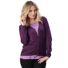 The Belle Cardigan is a long sleeve, full button cardigan with a V neckline. Made with extremely soft and comfortable sweater knit fabric, wear it alone or as an accent to your favorite outfit.  Fabrication: 70% Rayon from Bamboo, 30% Cotton Eco-Essentials Colour Plum