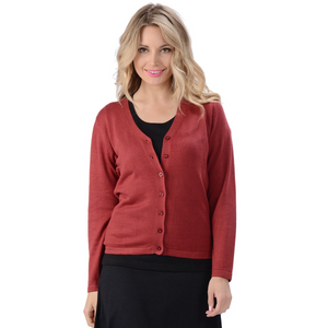 The Belle Cardigan is a long sleeve, full button cardigan with a V neckline. Made with extremely soft and comfortable sweater knit fabric, wear it alone or as an accent to your favorite outfit.  Fabrication: 70% Rayon from Bamboo, 30% Cotton Eco-Essentials Colour Cranberry