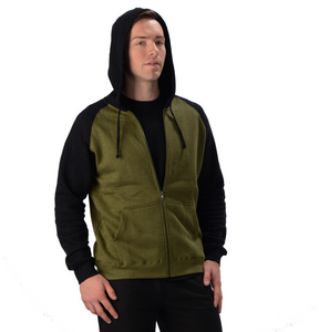 The David 2 Tone Hoodie is a full-zip hoodie, with raglan seams and ribbed cuffs and hem. It has pouch like pockets on both sides and a drawstring hood, great for the cooler weather. Fabrication: 55% Hemp 45% Organic Cotton -Fleece Eco-Essentials Colour Olive and Black $95.00