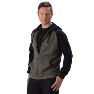 The David 2 Tone Hoodie is a full-zip hoodie, with raglan seams and ribbed cuffs and hem. It has pouch like pockets on both sides and a drawstring hood, great for the cooler weather. Fabrication: 55% Hemp 45% Organic Cotton -Fleece Eco-Essentials Colour Charcoal/Black