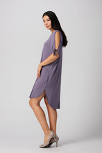 The Joelle Bamboo Tie Sleeve Dress is casual and elegant. Featuring silky smooth Bamboo jersey, tie sleeve and a relaxed fit. This Midi Caftan is perfect for the resort, lounging, as a bathing suit cover-up and at the beach. You will Love your Joelle Bamboo Tie Sleeve Dress  Fabrication: 95% Viscose from Bamboo, 5% Spandex  LNBF Colour Purple Ash