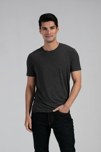 A man's wardrobe staple. Sits gently on the body with great stretch, fitted nicely and not too tight. Outstanding comfort, boost your basic outfit with this go-to basic tee. Fabrication: 95% Viscose from Bamboo 5% Spandex LNBF Colour Charcoal Grey 45.00