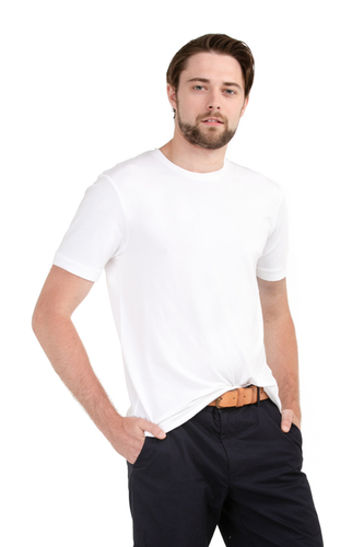 A man's wardrobe staple. Sits gently on the body with great stretch, fitted nicely and not too tight. Outstanding comfort, boost your basic outfit with this go-to basic tee. Fabrication: 95% Viscose from Bamboo 5% Spandex LNBF Colour White $45.00