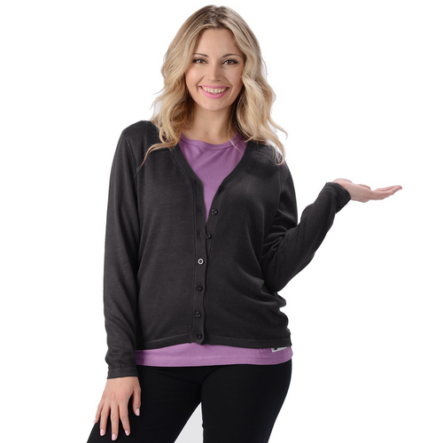 The Belle Cardigan is a long sleeve, full button cardigan with a V neckline. Made with extremely soft and comfortable sweater knit fabric, wear it alone or as an accent to your favorite outfit.  Fabrication: 70% Rayon from Bamboo, 30% Cotton Eco-Essentials Colour Black