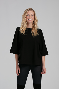 Designed with soft, warm Bamboo Fleece this kimono sleeve top features subtle seam details, boxy silhouette and side seam slits. Style the Addie Fleece with your classic skinny jeans for a dressier look, or pair it with our Julianne Lounge Pants for a an extra cozy finish. Fabrication: Black Fleece 66% Viscose from Bamboo, 28% Cotton, 6% Spandex $70.00