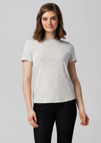 Casual, classic and chic, the Gracie Crew Neck Tee is made with 95% bamboo. This versatile tee features a classic crew neckline that can easily look dressy or casual! Pair this tee with your favorite pair of denim for an easy casual look, or dress it up with your favorite skirt and some fun jewelry for an elegant look!  Fabrication: 95% Viscose from Bamboo 5% Spandex LNBF Colour Grey Melange
