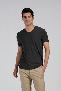 Slip into the stylish and simple Huron V-Neck Tee, made of super soft and breathable Viscose from Bamboo Jersey. Impeccable details like ladder-stitching on the sleeve and hem makes this tee memorable. For layering or to wear alone, you'll enjoy this classic v-neck tee. Fabrication: 95% Viscose from Bamboo 5% Spandex LNBF Colour Charcoal Grey $45.00