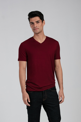Slip into the stylish and simple Huron V-Neck Tee, made of super soft and breathable Viscose from Bamboo Jersey. Impeccable details like ladder-stitching on the sleeve and hem makes this tee memorable. For layering or to wear alone, you'll enjoy this classic v-neck tee. Fabrication: 95% Viscose from Bamboo 5% Spandex LNBF Colour Cabernet Red $45.00