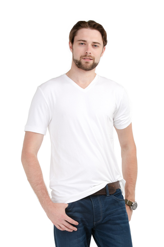 Slip into the stylish and simple Huron V-Neck Tee, made of super soft and breathable Viscose from Bamboo Jersey. Impeccable details like ladder-stitching on the sleeve and hem makes this tee memorable. For layering or to wear alone, you'll enjoy this classic v-neck tee. Fabrication: 95% Viscose from Bamboo 5% Spandex LNBF Colour White $45.00