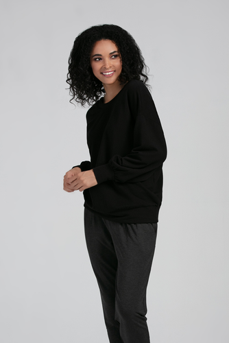 The Roxanne Pullover is bound to become a wardrobe favorite, with its voluminous sleeves and banded hem line, it is cozy and comfortable. The Roxanne Pullover is reversible and looks great paired with Leggings or styled with your favorite jeans Fabrication: 66% Viscose from Bamboo, 28% Cotton, 6% Spandex  LNBF Colour Black $99.99
