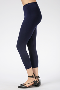 Suri Capri Bamboo Leggings are comfortable, flexible and breathable. Made with  oh-so-soft Viscose from Bamboo, this is a great gift for yourself, family or friends. Lightweight yet opaque, they are great to pair with a tunic, tank, t-shirt or blouse. A little shorter for the summer, you will Love your Suri Capri Bamboo Leggings. Fabrication: 94% Viscose from Bamboo, 6% Spandex LNBF Colour Midnight Blue $40.00