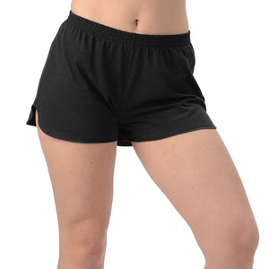 Moira Bamboo Running Shorts are loose comfy fit with elastic waistband and notched cuffs. Made with soft Bamboo jersey, they are luxurious, moisture wicking and breathable. Great for workout, casual or as PJ bottoms, you will LOVE your Moira Bamboo Running Shorts. Proudly made in Canada 70% Rayon from Bamboo, 30% Organic Cotton  ECO-ESSENTIALS Black $25.00