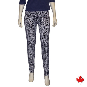 Bamboo Leggings are super soft, luxurious and moisture wicking. With a mid-rise and a single seam for comfort, they are great for work rest or play. The most comfortable leggings you will ever own. You will LOVE your Bamboo Leggings. Proudly made in Canada 92% Rayon from Bamboo, 8% Spandex ECO-ESSENTIALS Colour Leopard