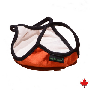 Homemade style Eco-friendly Hemp Mask, double layered, breathable, moisture wicking, washable and lots of colours to choose from. Proudly Made in Canada Fabrication: 55% Hemp 45% Organic Cotton String 92% bamboo 8% Spandex ECO-ESSENTIALS  Colour Orange