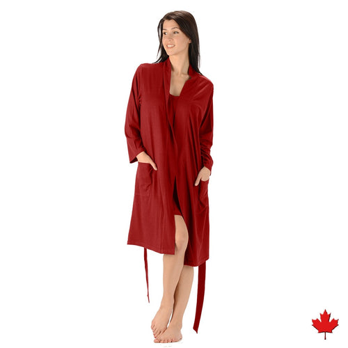 The Noreen Bath Robe Soft, breathable, moisture wicking absorbent and antibacterial. Great to pair with an Emily Nightgown, it has an inside tie, belt loops with tie on the outside and patch pockets. Proudly Made in Canada Fabrication: 70% Rayon from Bamboo 30% Organic Cotton Jersey ECO-ESSENTIALS Colour Burgundy