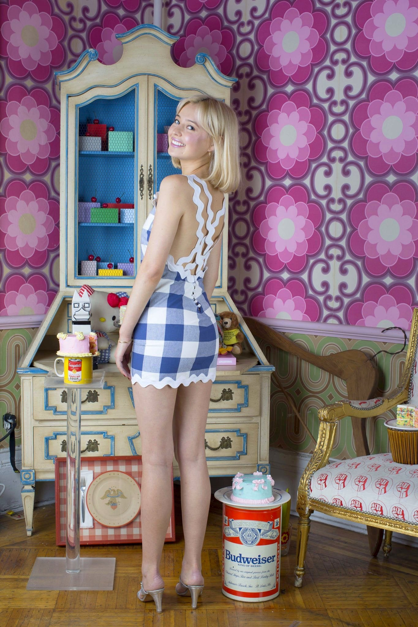 blue gingham ric rac lattice dress