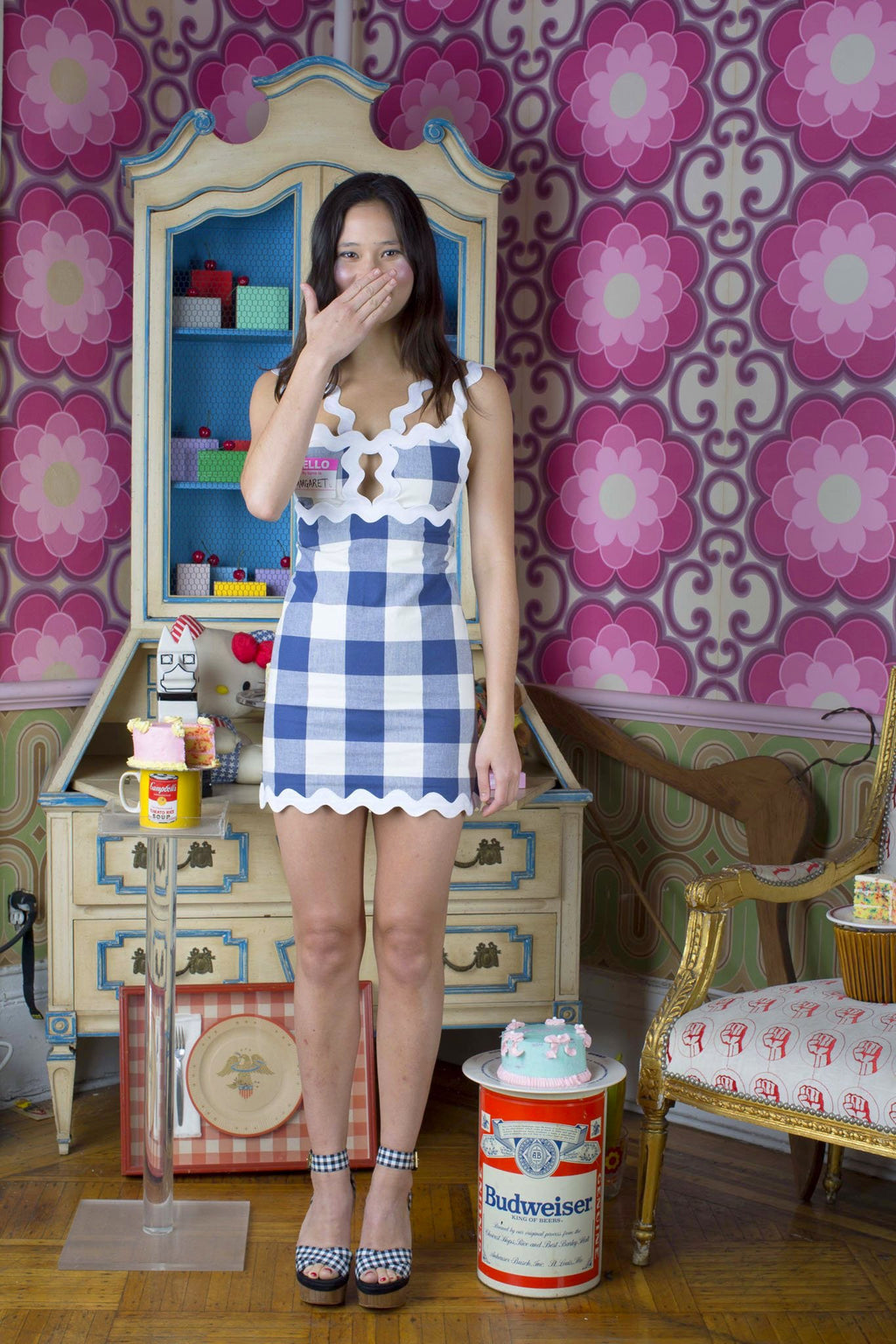 blue gingham ric rac dress