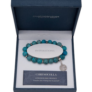 Chrysocolla (Matte) Tree of Life Bracelet
