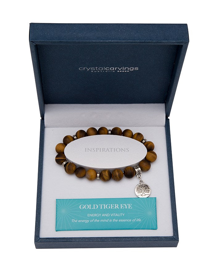 Gold Tiger Eye (Matte) Tree of Life Bracelet