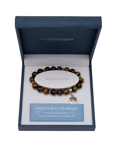 Golden Blue Tiger Eye Tree of Life Bracelet
