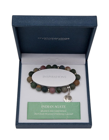 Indian Agate (Matte) Tree of Life Bracelet