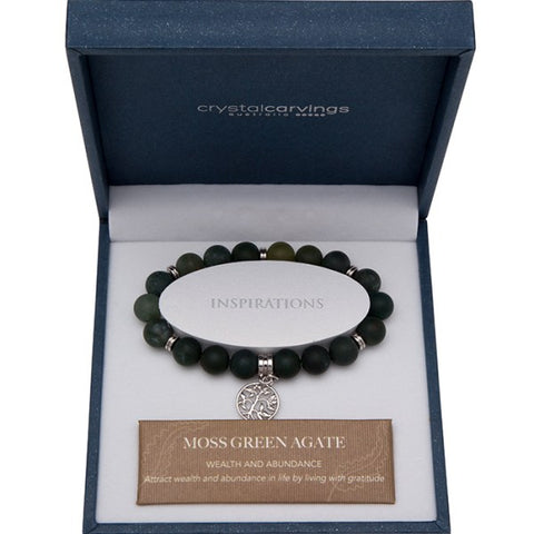 Moss Green Agate (Matte) Tree of Life Bracelet