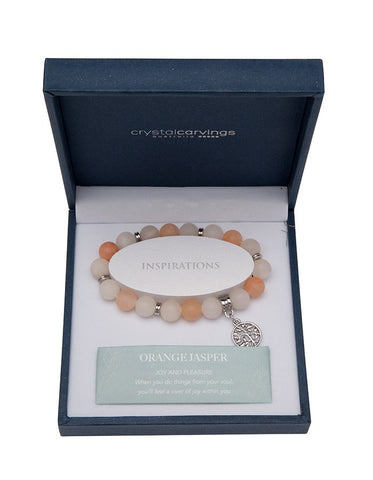 Orange Jasper (Matte) Tree of Life Bracelet