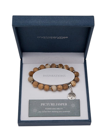 Picture Jasper (Matte) Tree of Life Bracelet