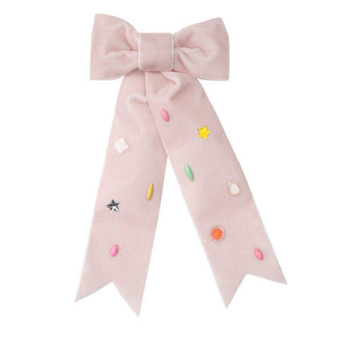 Pink Jeweled Bow Barrette