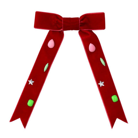 Red Jeweled Bow Barrette