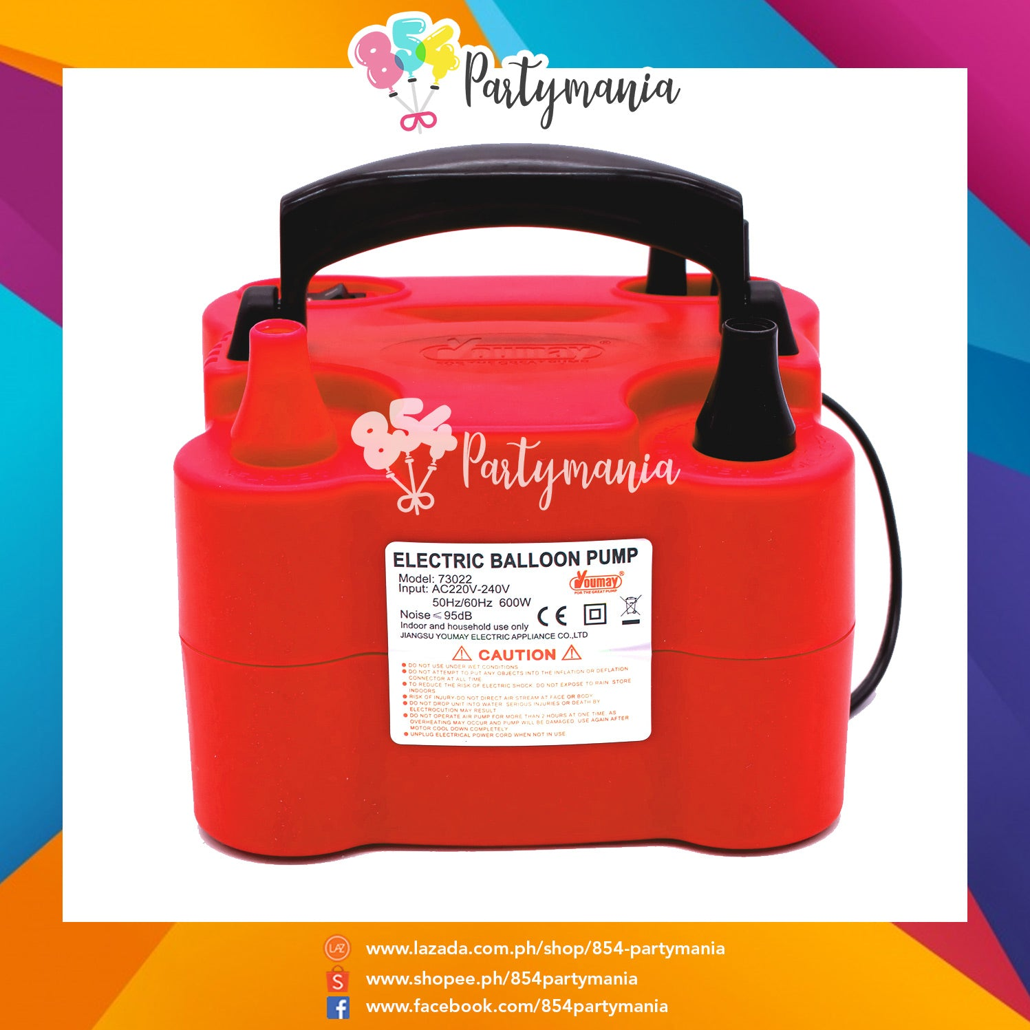 Double Nozzle Handy Electric Pump Red #73022 – 854Partymania