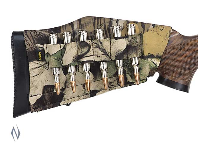 ALLEN RIFLE BUTTSTOCK 6 SHELL HOLDER CAMO - SKU: AL20123, allen, ammunition-carriers, ebay, Shooting-Gear, under-50