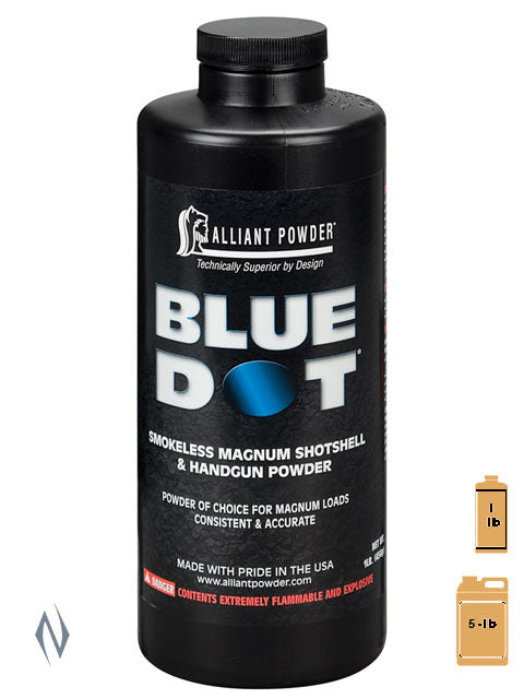 ALLIANT BLUE DOT 5LB 2.27KG - SKU: BLUEDOT-5, 200-500, alliant, Components, propellant-powder, Reloading-Supplies