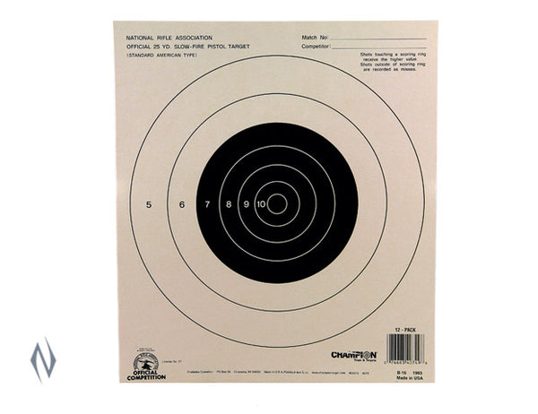 CHAMPION TARGET NRA 25YD PISTOL SLOW FIRE 100 PACK - SKU: CH40722