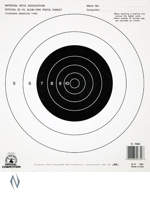 CHAMPION TARGET NRA 25YD PISTOL SLOW FIRE 12 PACK - SKU: CH40749