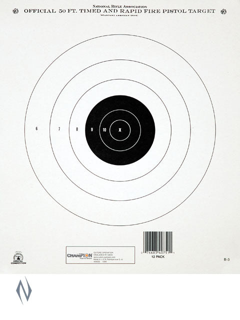 CHAMPION TARGET NRA 50FT TIMED & RAPIDFIRE 12 PACK - SKU: CH40751