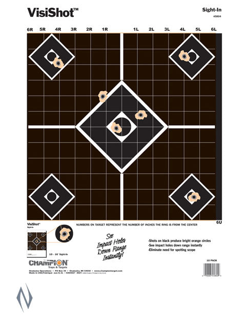 CHAMPION TARGET VISISHOT SIGHT IN 10 PACK 13 INCHX18 INCH - SKU: CH45804, champion, Champion Amazon, ebay, paper-targets, Shooting-Gear, Targets-Target-Holders, under-50