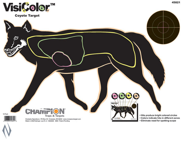 CHAMPION TARGET VISICOLOR COYOTE 10 PACK 16 INCHX11 INCH - SKU: CH45821