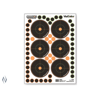CHAMPION TARGET VISICOLOR ADHESIVE BULLSEYE 3 inch 5 PACK + PATCHES - SKU: CH46135, Amazon, champion, ebay, paper-targets, Shooting-Gear, Targets-Target-Holders, under-50